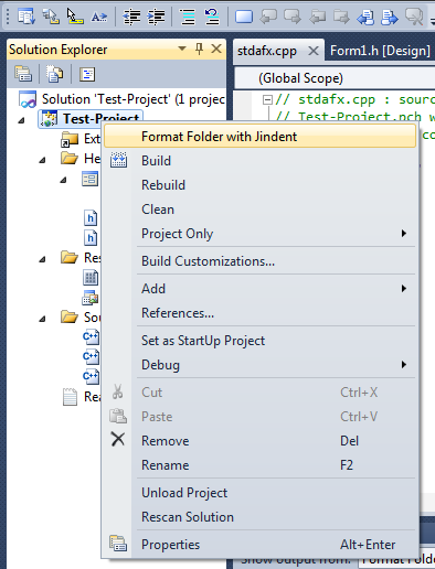 Verify Jindent's Visual Studio/Express menu entry
